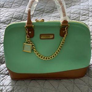 Gorgeous mint and tan handbag